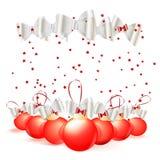 红色圣诞节球 图库摄影