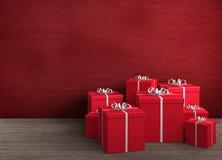 红色圣诞节的礼品 免版税图库摄影