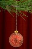 红色圣诞节的装饰 库存照片