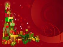 红色圣诞节礼品背景 库存图片