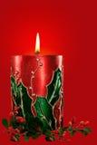 红色圣诞节蜡烛 免版税图库摄影