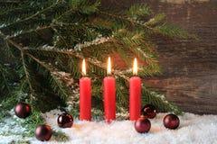 红色圣诞节蜡烛 免版税库存图片