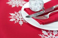 红色圣诞节表 库存图片