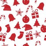 红色圣诞节装饰品无缝的样式,传染媒介例证 库存照片