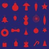 红色圣诞节装饰集合eps10 免版税库存图片