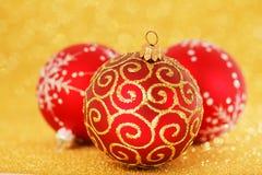 红色圣诞节装饰 图库摄影