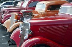 1936红色在一个经典车展的福特 库存照片