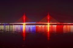 红色在晚上上色了缆绳被停留的桥梁 免版税库存照片