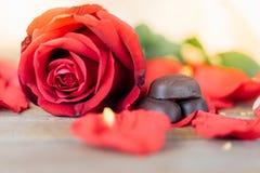 红色在木地板上的玫瑰花在华伦泰` s天 库存照片