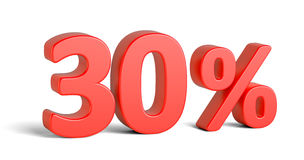 红色在白色背景的三十百分号 免版税库存照片