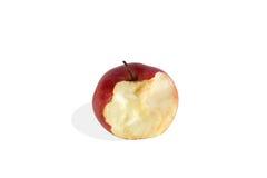 红色在白色背景隔绝的被咬住的苹果 免版税库存图片