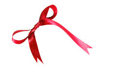红色在白色背景隔绝的织品丝带和弓 库存照片