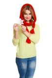 红色在白色背景隔绝的围巾和雪花的美丽的女孩,寒假概念 免版税库存图片