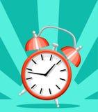 红色在绿松石背景网站页隔绝的闹钟唤醒的时间平的样式传染媒介例证和流动app设计 免版税图库摄影