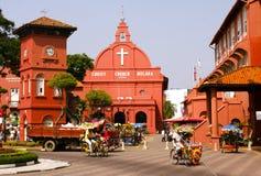 红色基督教会在马六甲 免版税库存图片
