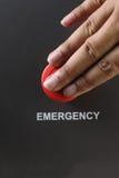 红色塑料紧急刹车按钮 图库摄影