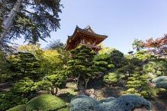 红色塔和树在日本庭院里 免版税库存图片