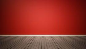 红色墙壁和黑暗的木地板 图库摄影