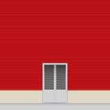 红色墙壁飞机棚 库存例证