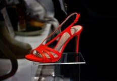 红色夏天鞋子 库存照片