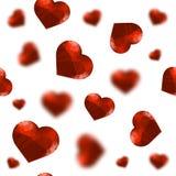红色多角形心脏任意无缝的样式 免版税库存照片