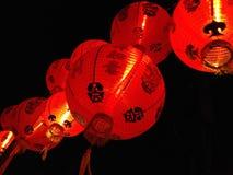 红色夜中国人灯笼 免版税图库摄影