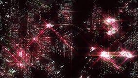 红色夜城市抽象夜场面  Loopable 向量例证