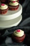 红色天鹅绒杯形蛋糕 图库摄影