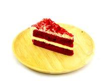 红色天鹅绒蛋糕片断  免版税库存照片