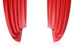 红色天鹅绒阶段帷幕,猩红色剧院布 丝绸古典帷幕,红色剧院帷幕 3d翻译 库存照片