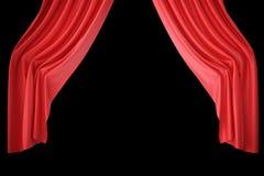 红色天鹅绒阶段帷幕,猩红色剧院布 丝绸古典帷幕,红色剧院帷幕 3d翻译 库存图片