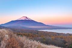 红色头在山中湖的Beni富士在日出图fr期间 库存图片
