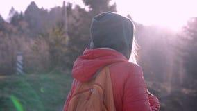 红色夹克的俏丽的妇女徒步旅行者有小橙色背包的在站立森林在早期的冷的早晨,呼吸 股票录像