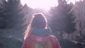 红色夹克的俏丽的妇女徒步旅行者有小橙色背包的在站立森林在早期的冷的早晨,呼吸 股票视频