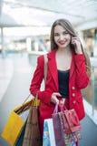 红色夹克的女孩 图库摄影