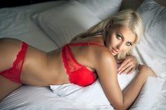 红色女用贴身内衣裤 免版税库存照片