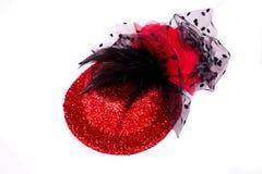 红色妇女帽子 免版税库存照片