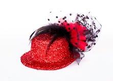 红色妇女帽子 库存图片