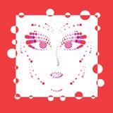 红色妇女面孔 免版税库存照片