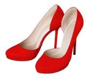 红色妇女鞋子 库存照片