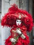 红色威尼斯式乔装 免版税库存照片