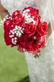红色婚礼花束 库存图片