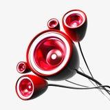 红色子低音扬声器 免版税库存图片