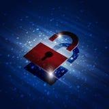 红色安全锁 免版税库存图片