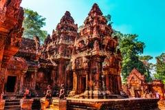 红色寺庙,暹粒市,柬埔寨 库存图片