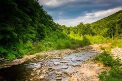 红色小河,在西维吉尼亚农村波托马克高地  库存照片
