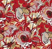 红色小狗百合五颜六色的传染媒介设计花艺术绘画装饰墙纸无缝的样式庭院 向量例证