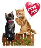 红色小猫给心脏气球 免版税库存图片