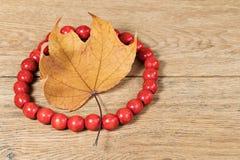 红色小珠和秋天叶子在桌上 免版税库存照片