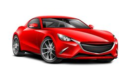 红色小轿车运动的汽车 有光滑的表面的普通汽车在白色背景 免版税库存照片